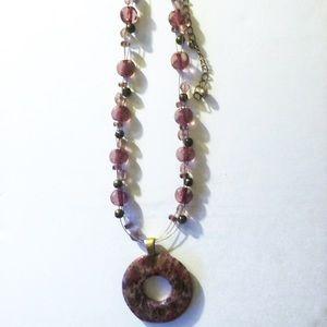 Chico's mauve pendant illusion bead necklace